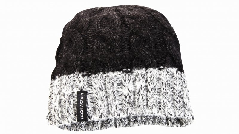 BODY ACTION 095603-ΒLΑCΚ UNISEX CABLE-KNIT BEANIE